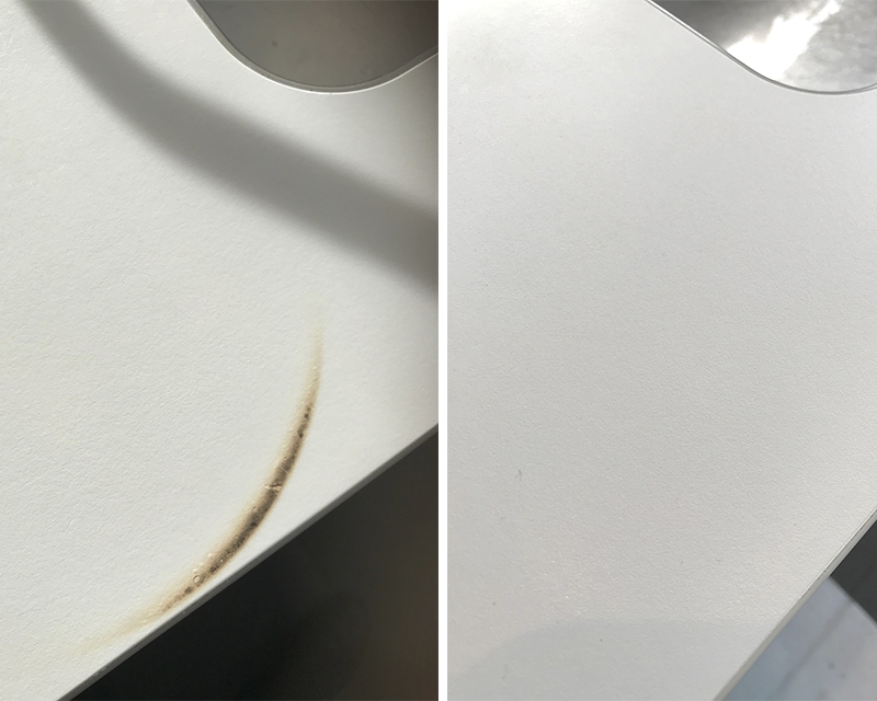 Rademaakt repareert verschillende schades. Brandschade reparatie HPL keukenblad